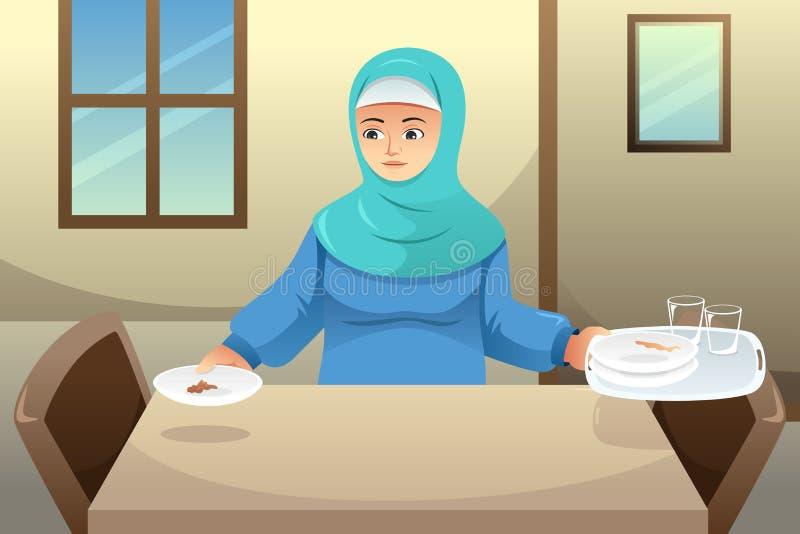 Muslimsk kvinna som gör ren upp att äta middag tabellen efter matställe vektor illustrationer