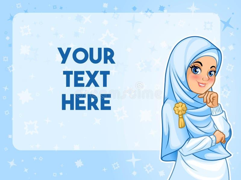 Muslimsk kvinna som har hennes hand under hakavektorillustration royaltyfri illustrationer