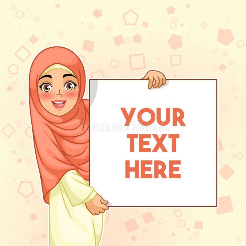 Muslimsk kvinna som ler det hållande tomma brädet royaltyfri illustrationer