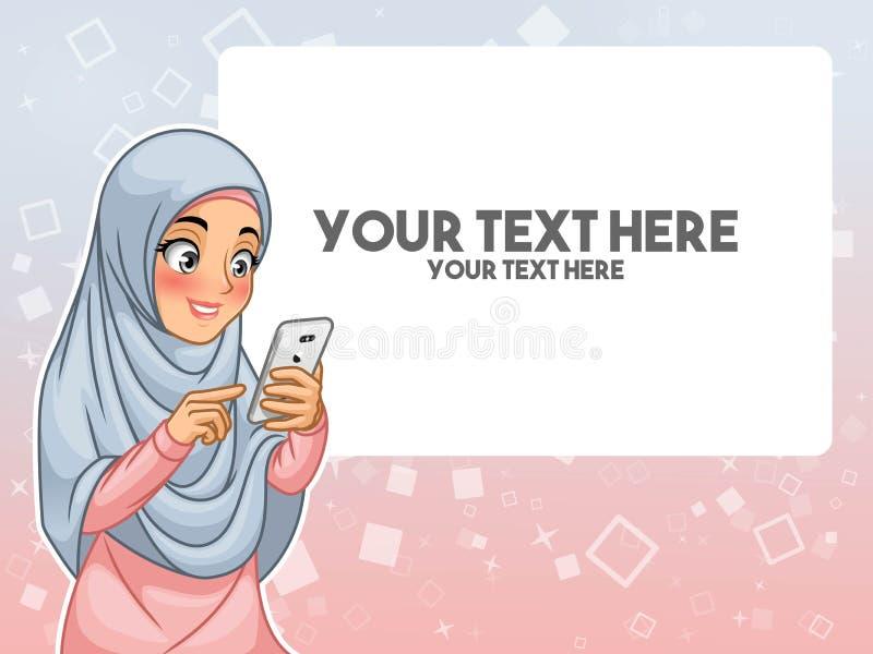 Muslimsk kvinnahand som trycker på en smart telefon, genom att peka med hennes finger royaltyfri illustrationer