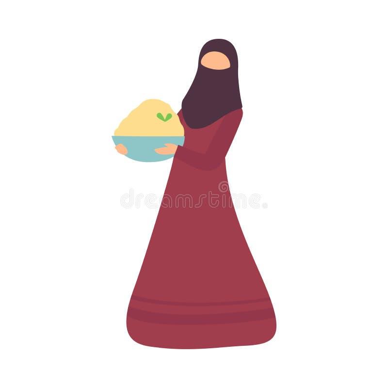 Muslimsk kvinnainnehavbunke av traditionell mat då och då av den Eid Al Adha Islamic Holiday Celebration vektorillustrationen vektor illustrationer