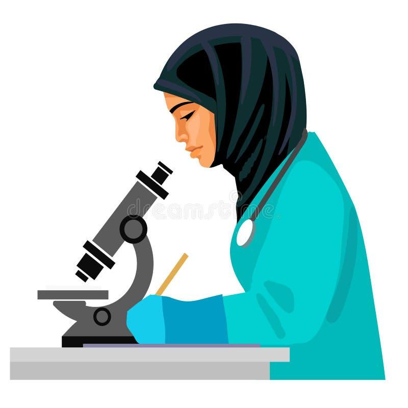 Muslimsk kvinnlig doktor som ser till och med mikroskopet stock illustrationer