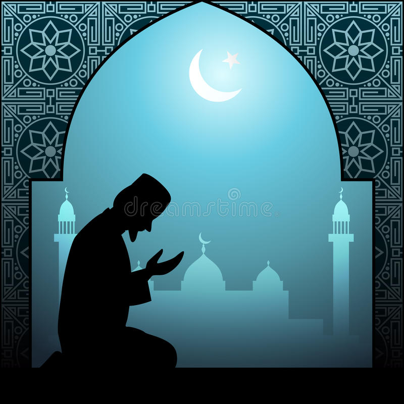Muslimsk man som ber den islamiska illustrationen vektor illustrationer