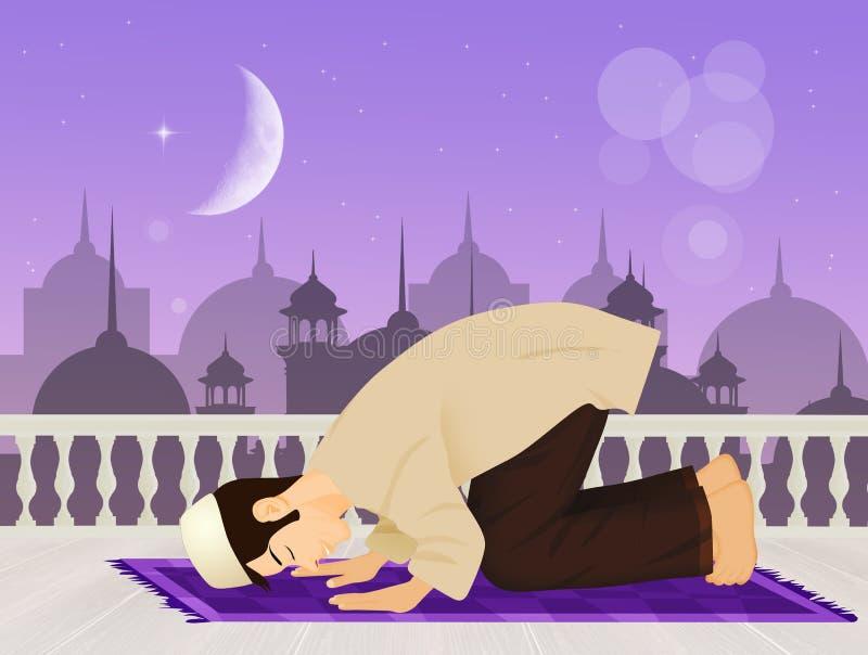Muslimsk man som ber vända mot Mecka royaltyfri illustrationer