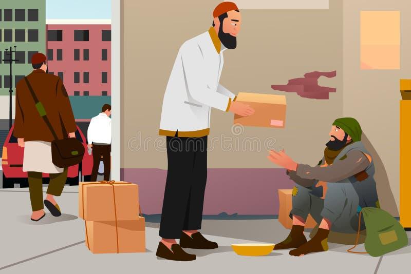 Muslimsk man som ger donation till en fattig hemlös man royaltyfri illustrationer