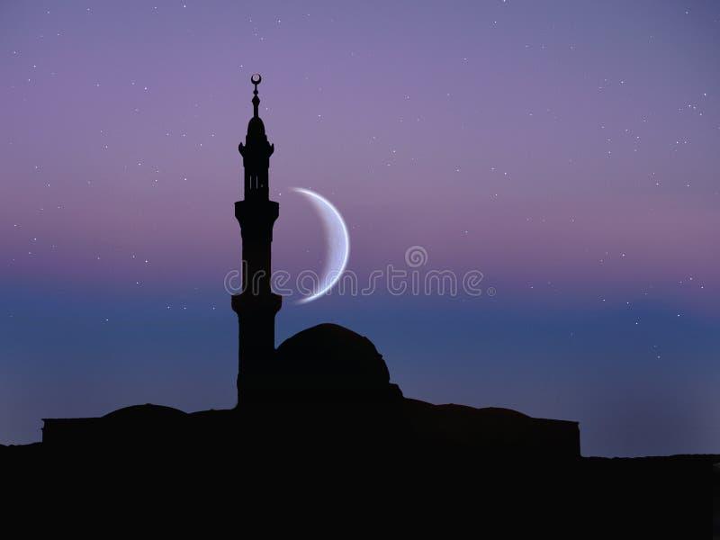 Muslimsk moské, nattmåne arkivfoto