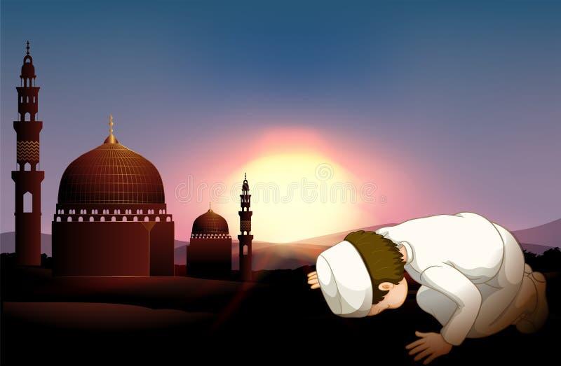 Muslimsk person som ber på moskén vektor illustrationer