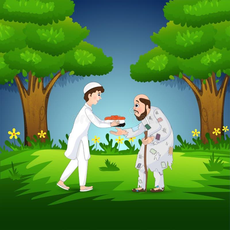 Muslimsk pojke som ger torkduken till den gamla tiggaren p? natursikt stock illustrationer