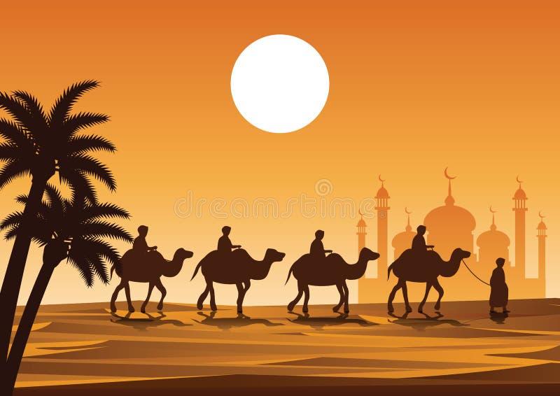 Muslimsk rittkamel för husvagn till moskén stock illustrationer