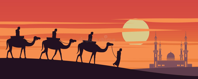 Muslimsk rittkamel för husvagn till moskén av Dubai på solnedgångtid, traditionen av arabiskt, konturdesign stock illustrationer