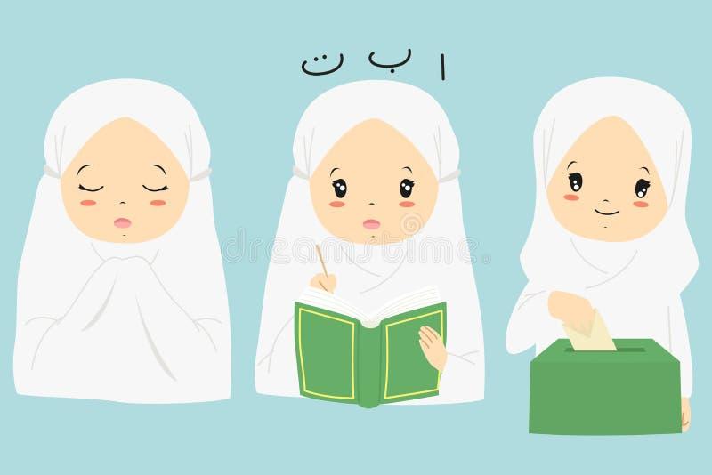 Muslimsk samling för flickatecknad filmvektor vektor illustrationer