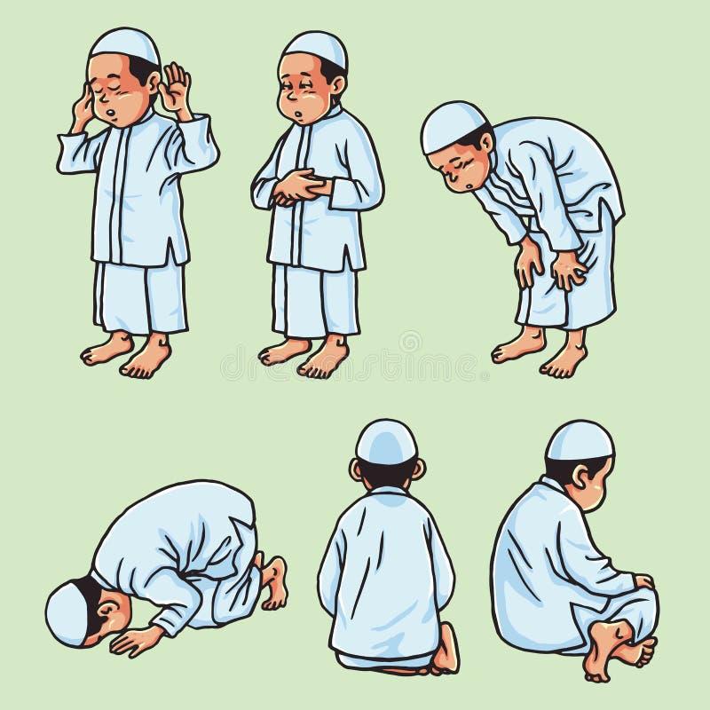 Muslimsk unge som gör Salah, Salat, Shalat, Sholaat, vektoruppsättning royaltyfri illustrationer