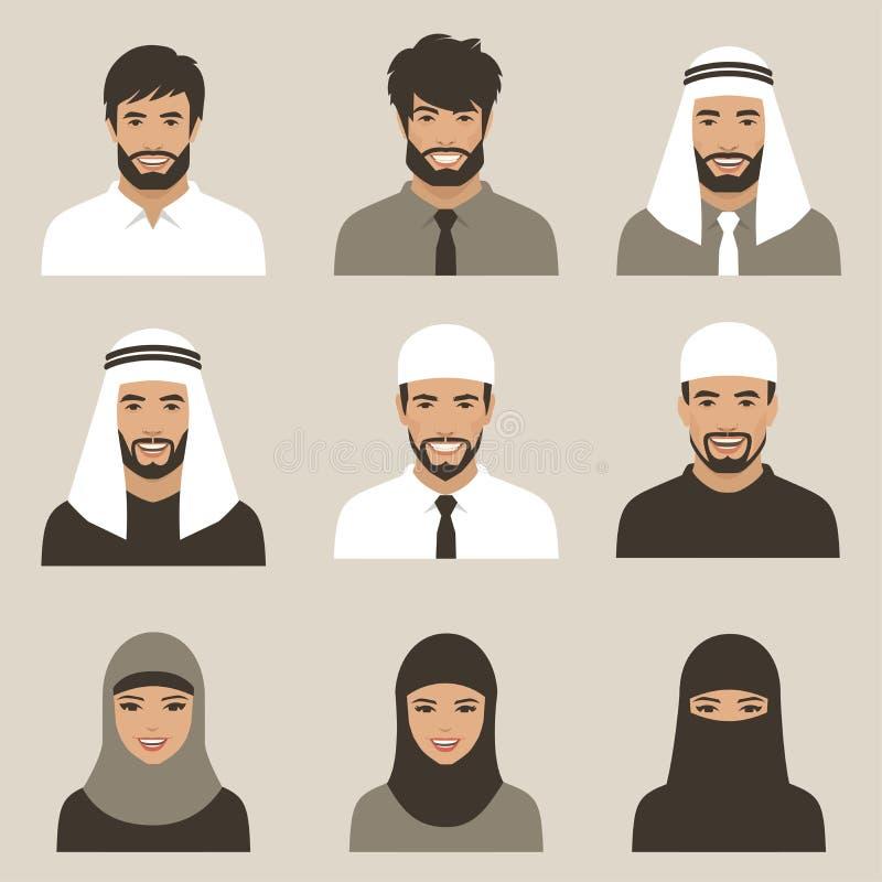 Muslimska avatars, vektorarabfolk vektor illustrationer