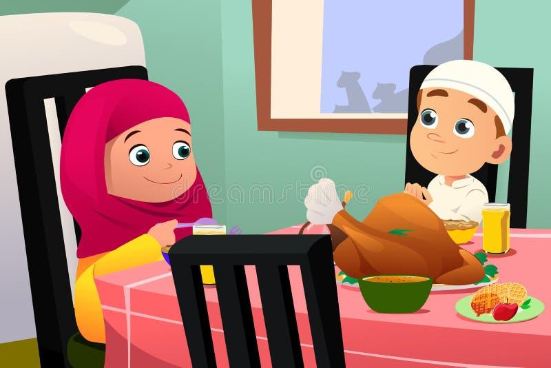 Muslimska barn som äter på att äta middag tabellen royaltyfri illustrationer