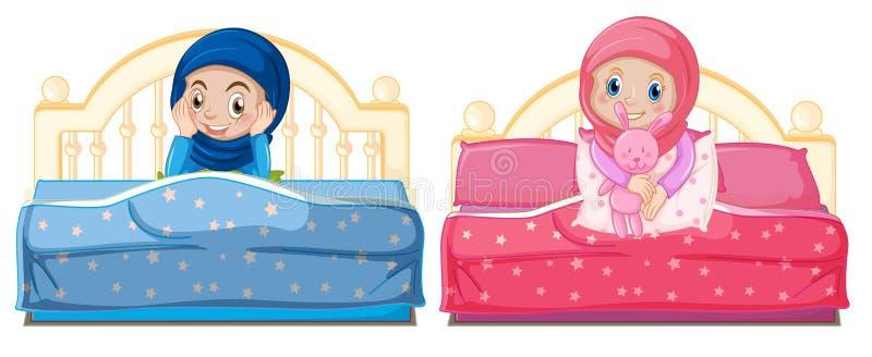 Muslimska flickor på sängen royaltyfri illustrationer