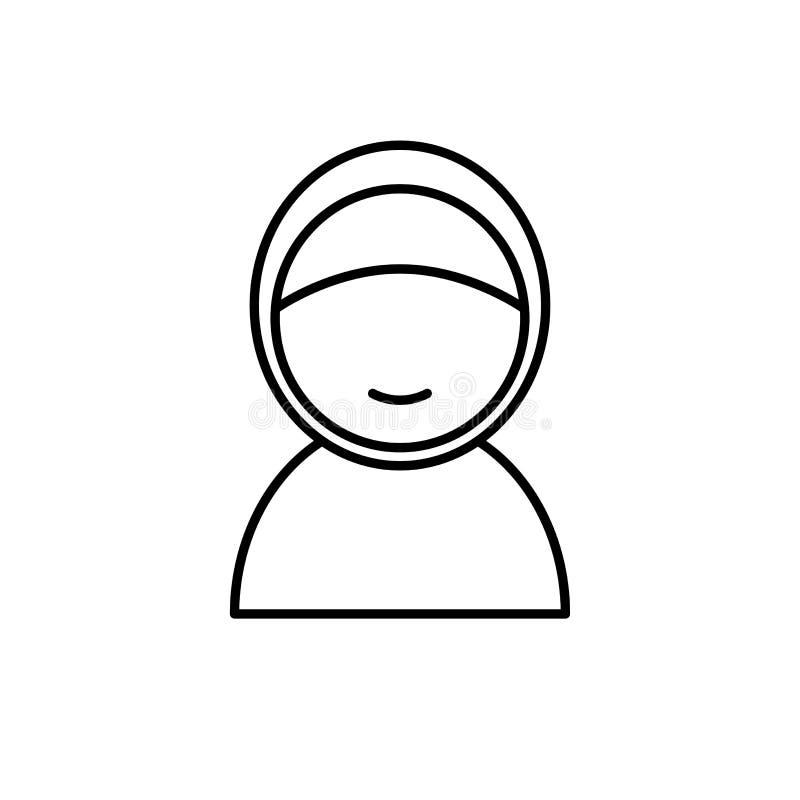 Muslimska kvinnor med hijab Enkel monolinesymbolsstil för muslim ramadan och beröm för eidalfitr royaltyfri illustrationer