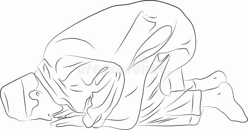 Muslimska män knäfaller i bön stock illustrationer