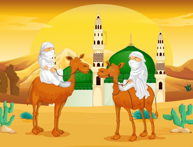 Muslimska män på kamel i öknen royaltyfri illustrationer