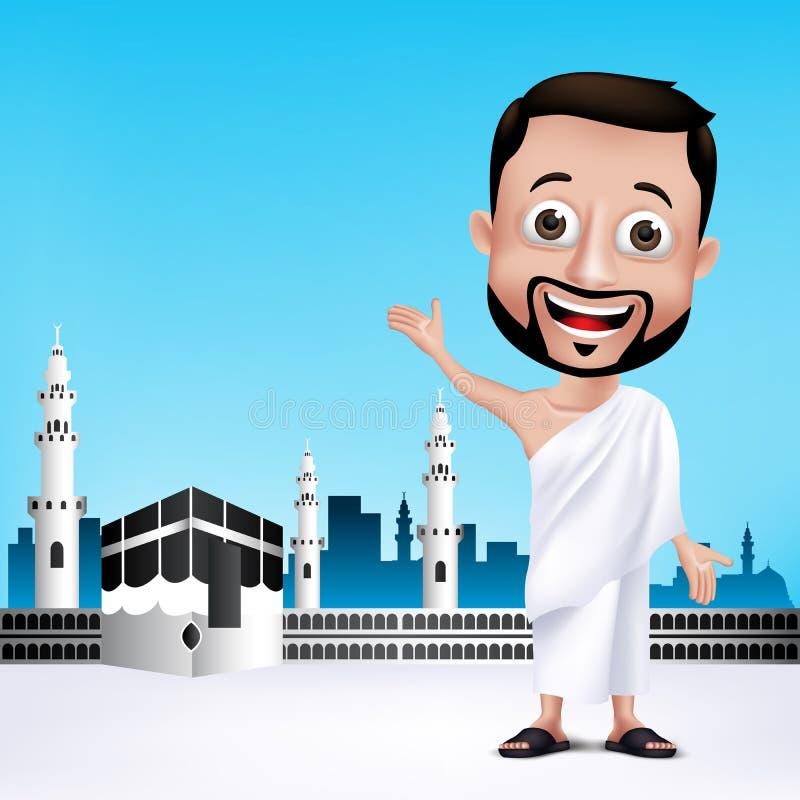 Muslimska mantecken som bär Ihram torkdukar för att utföra Hajj eller Umrah stock illustrationer