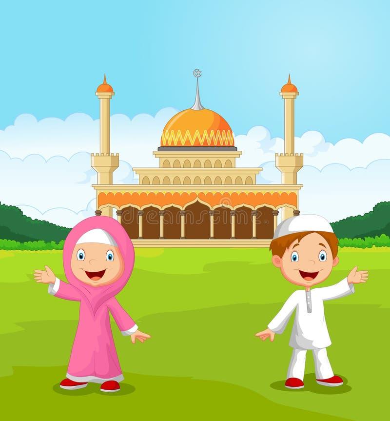 Muslimska ungar för lycklig tecknad film som framme vinkar handen av moskén royaltyfri illustrationer