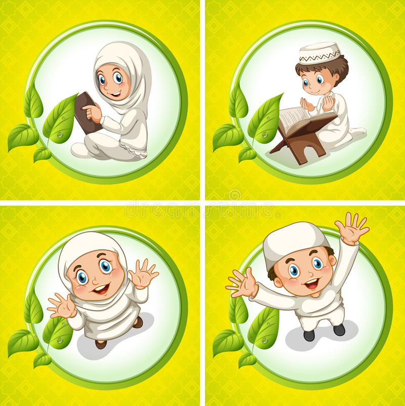Muslimskt be för pojke och för flicka royaltyfri illustrationer