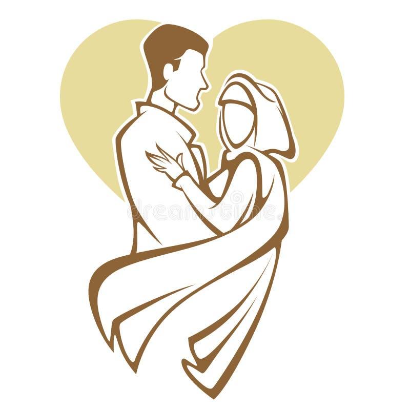 Muslimskt bröllop royaltyfri illustrationer