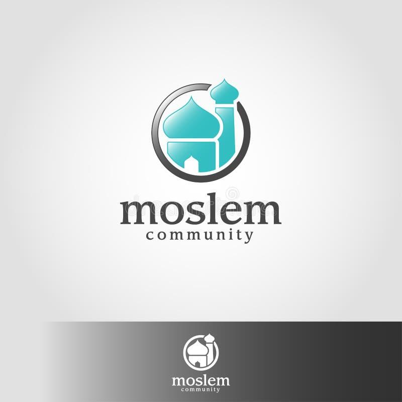 Muslimskt eller muslimskt - islamisk moskélogomall vektor illustrationer