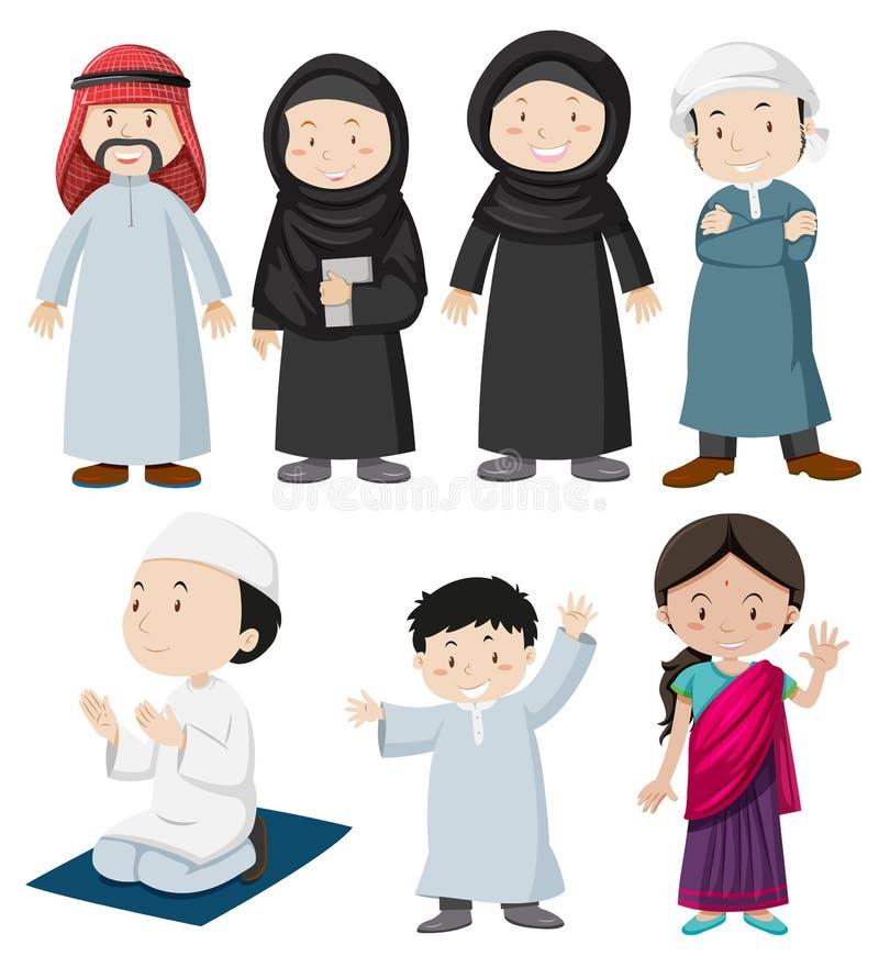 Muslimskt folk i traditionell dräkt stock illustrationer