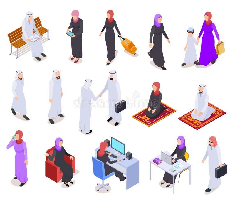 Muslimskt isometriskt Folk för arab 3d, saudieraffärskvinna och man i traditionell kläder Arabisk isolerad vektor stock illustrationer