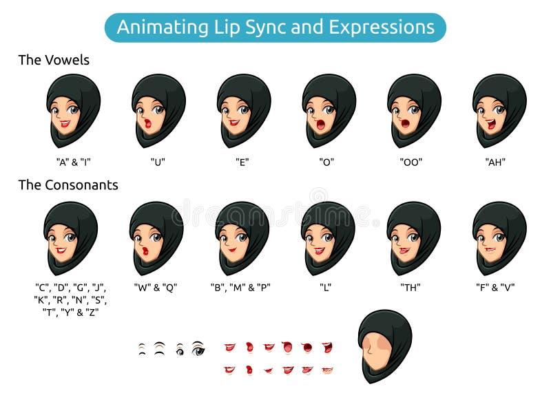 Muslimskt kvinnatecknad filmtecken för att animera kantsynkronisering och uttryck vektor illustrationer