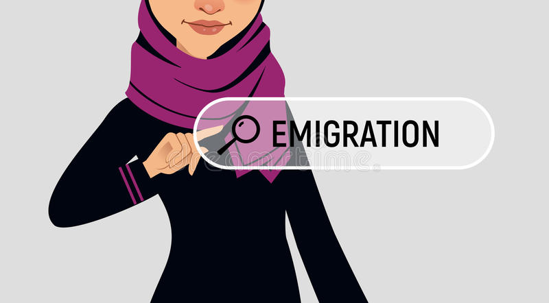 Muslin woman is writing EMIGRATION in search bar on virtual screen. Vector illustration royalty free illustration
