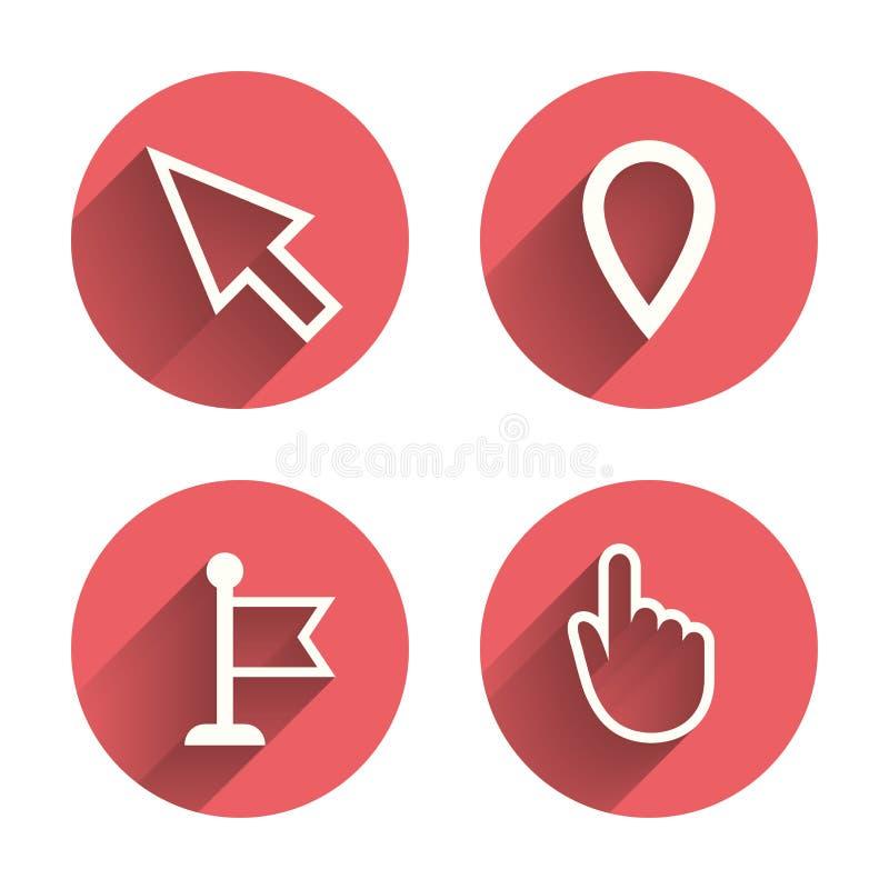 Musmarkörsymbol Hand- eller flaggapekaresymboler stock illustrationer
