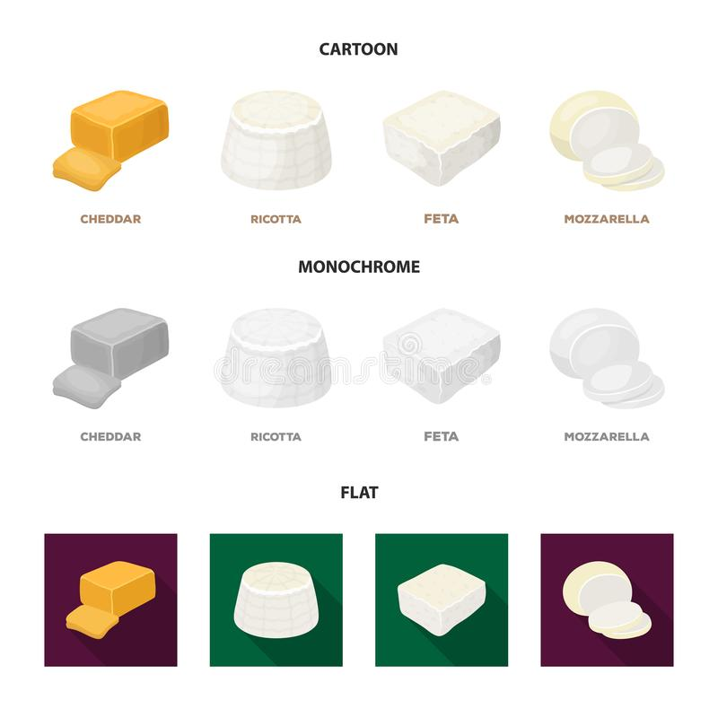 Mussarela, feta, queijo Cheddar, ricota Tipos diferentes de ícones ajustados da coleção do queijo nos desenhos animados, estilo l ilustração stock