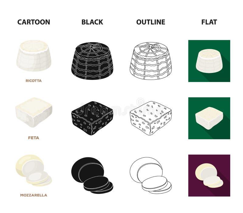 Mussarela, feta, queijo Cheddar, ricota Tipos diferentes de ícones ajustados da coleção do queijo nos desenhos animados, preto, e ilustração stock