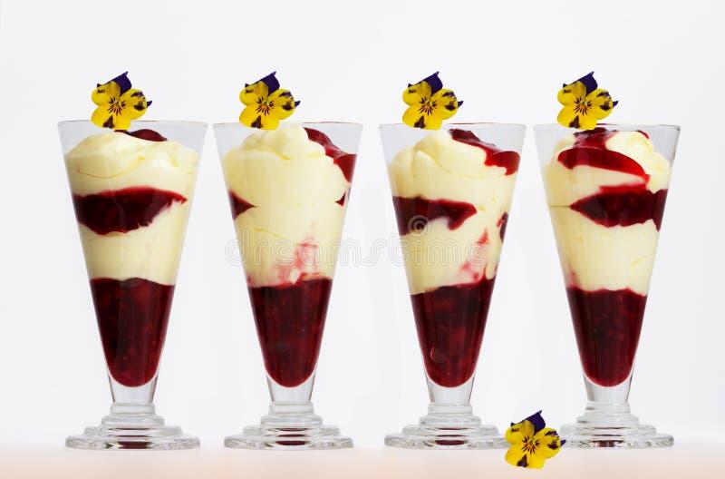 Musse da baunilha com geleia e as flores vermelhas de fruto imagens de stock