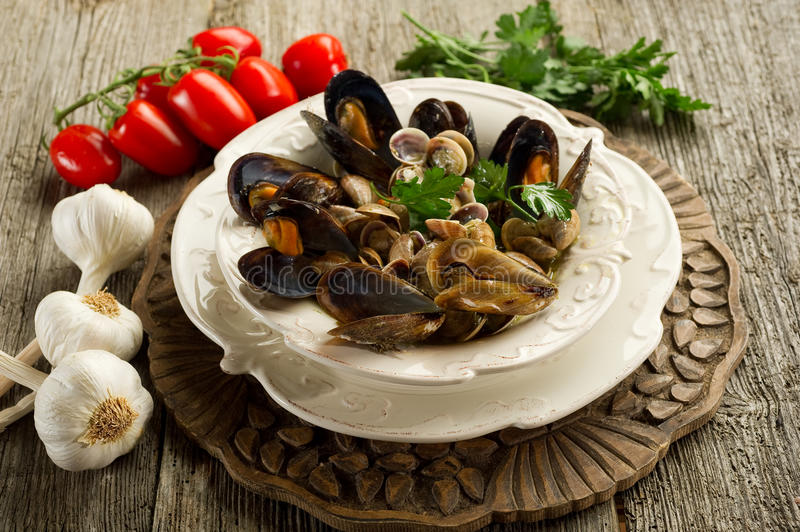 Mussel and soup royalty free stock photo