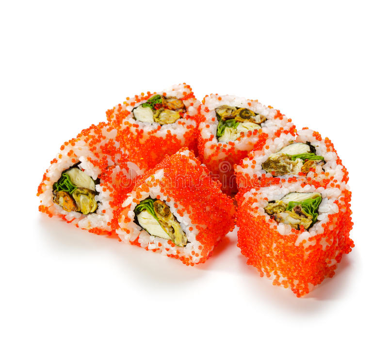 Mussel Roll. Mussel Maki Sushi - Roll made of Mussels, Tamago (japanese omelet) and Salad Leaf inside. Red Tobiko (flying fish roe) outside stock photography