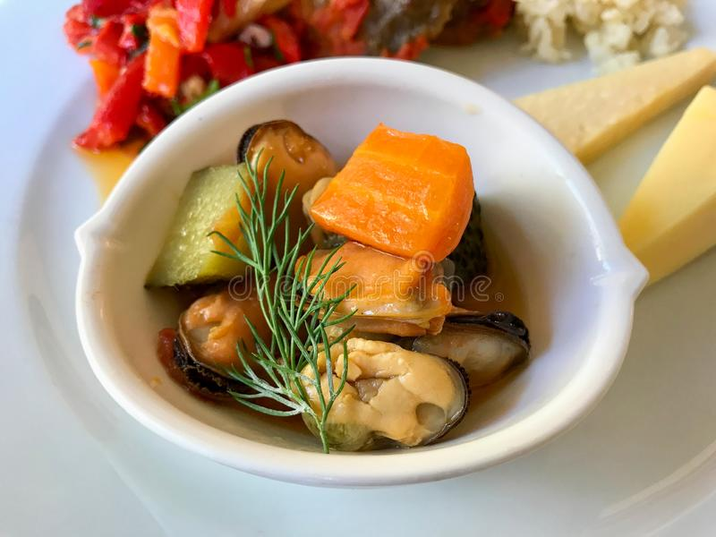 Mussel salad without Shell with Dill and and Carrot. stock photography