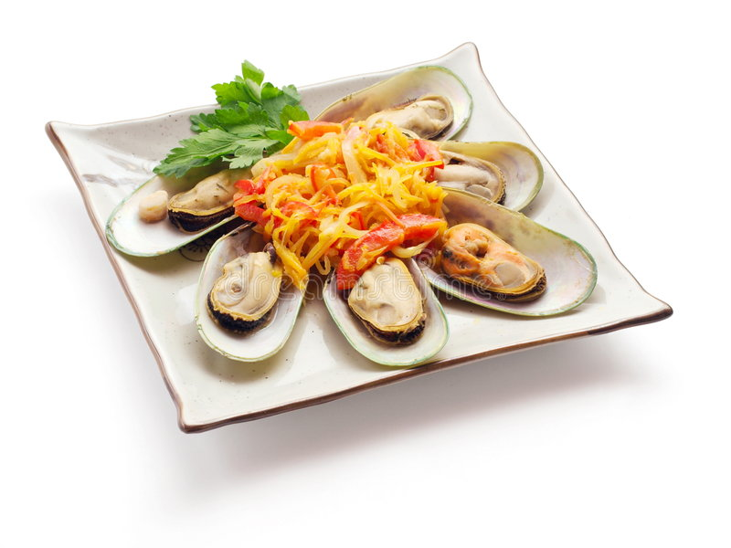 Mussel With Tomato, Carrot And Parsley Stock Photo
