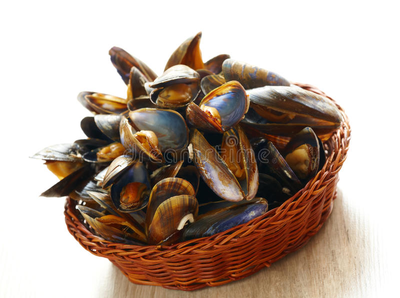 Download Mussels in basket stock photo. Image of healthy, meal - 26283488
