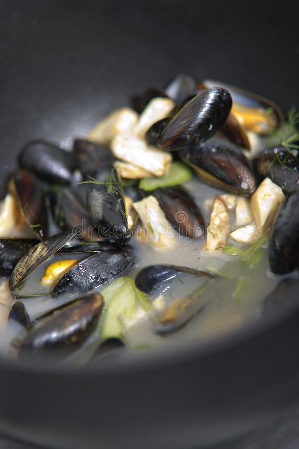 Download Mussels in a cooking pot stock image. Image of blue, dish - 26966415