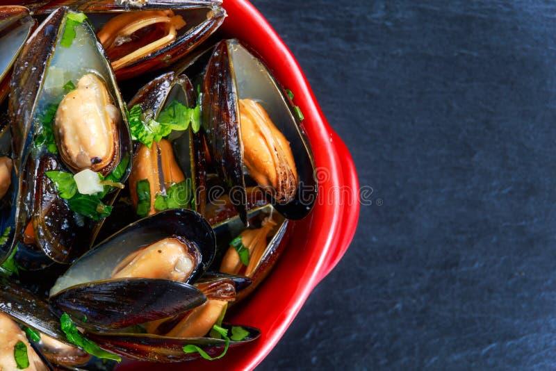 Mussels czosnku masła kumberland w Czerwonym pucharze fotografia royalty free