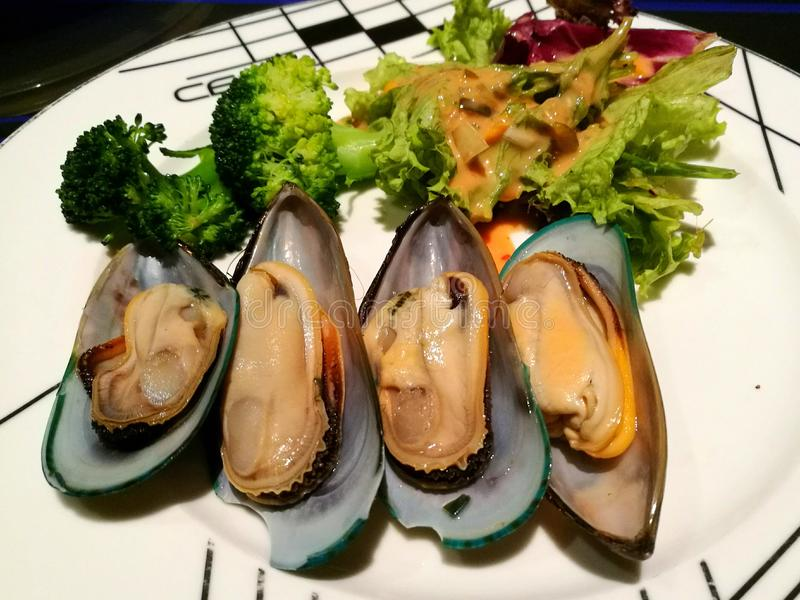 Mussels with fresh salad. Taste incredible simply steamed in a light shallot sauce royalty free stock image