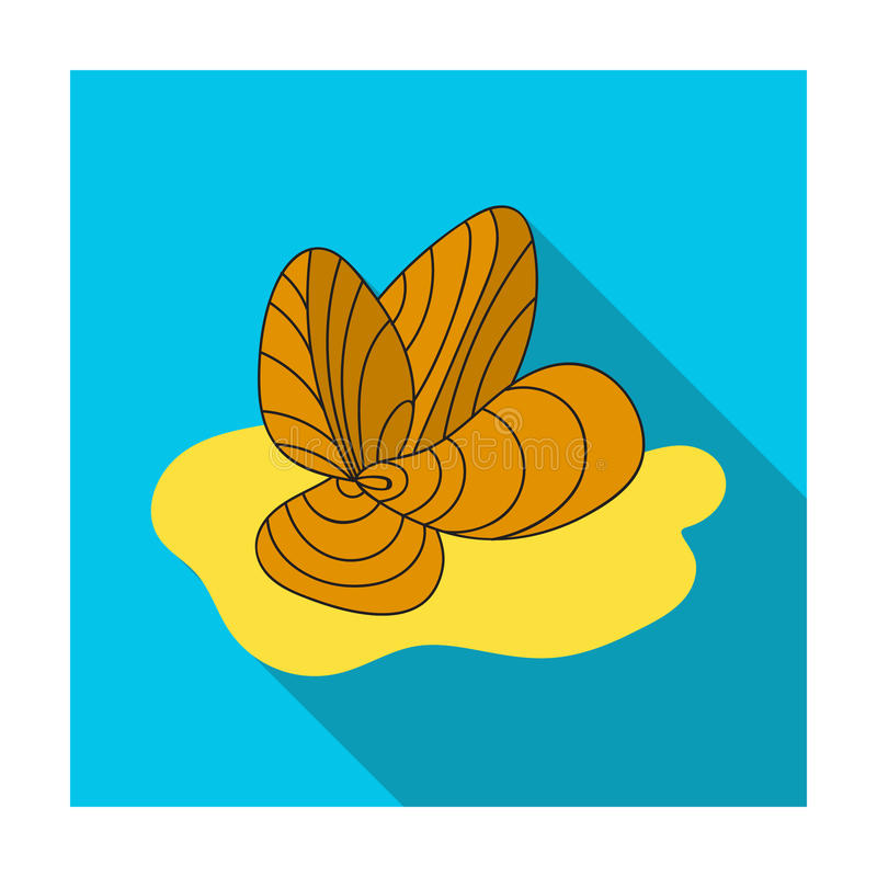 Mussels icon in flat style isolated on white background. Sea animals symbol stock vector illustration. Mussels icon in flat design isolated on white background royalty free illustration