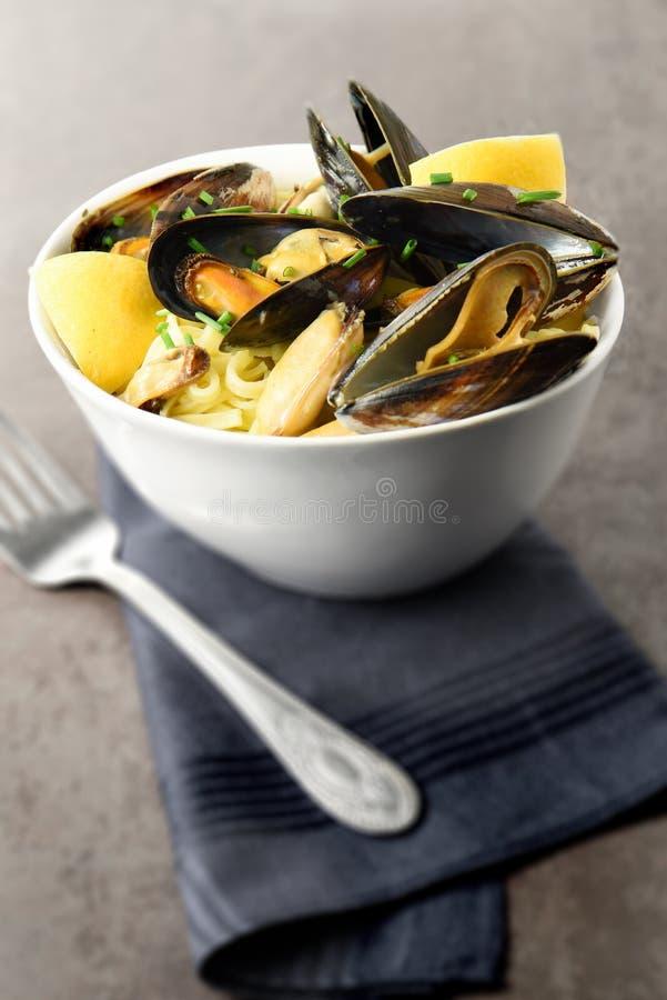 Mussels II I Linguine zdjęcia stock