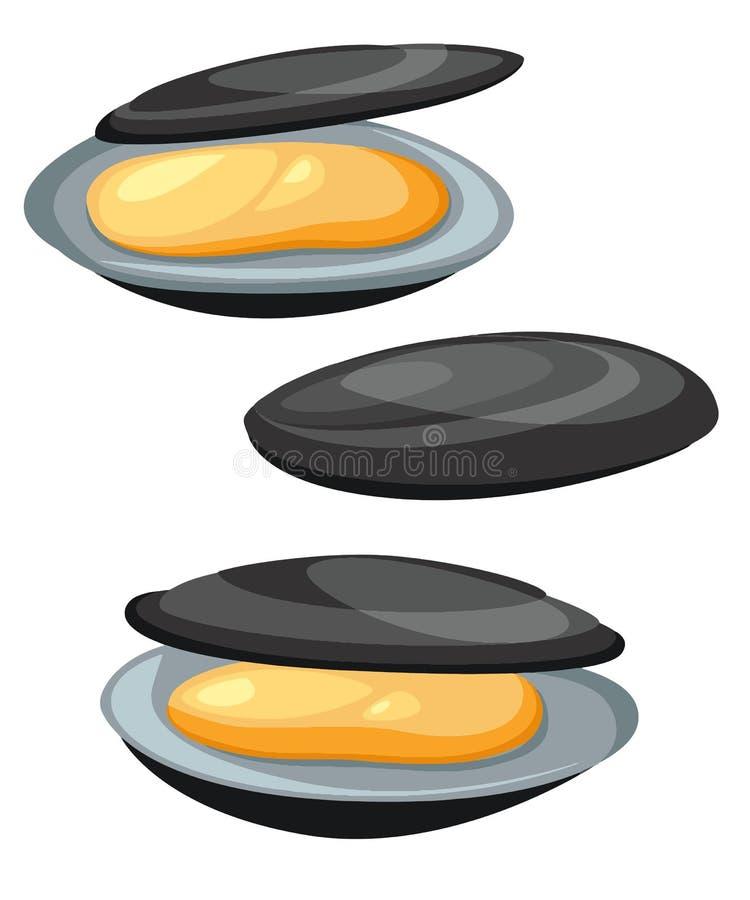 Mussels ilustracyjni w kreskówka stylu Owoce morza produktu projekt odizolowywający na białym tle ilustracja wektor