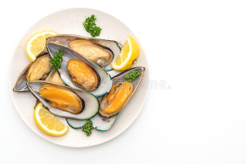 mussels with lemon and parsley stock image