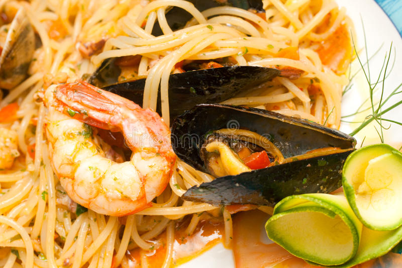 mussels spaghetti fotografia royalty free