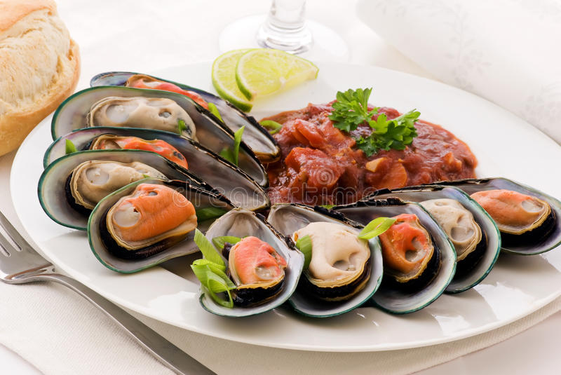 Mussels with Tomato Sauce stock photo