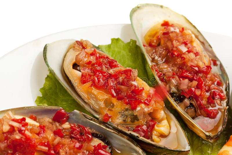 Download Mussels with vegetables stock photo. Image of dinner - 29085086